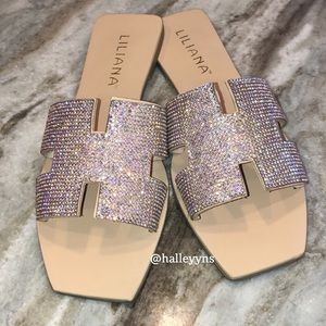 Liliana Rhinestone Embellished Flat Slide Sandals